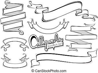 szalagcímek, calligraphic