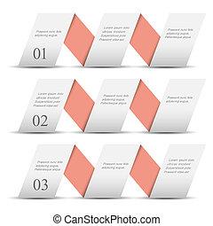 szalagcímek, dolgozat, origami, fehér, számozott