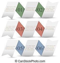 szalagcímek, dolgozat, origami, három, számozott