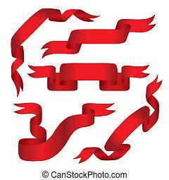 szalagcímek, piros, (vector)