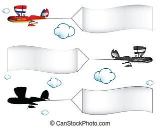 szalagcímek, repülőgépek, karikatúra