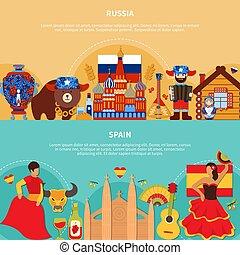 szalagcímek, utazás, spanyolország, oroszország