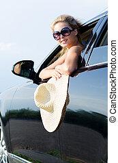 szalmaszál, autó woman, kalap, vonzalom