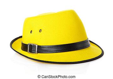 szalmaszál, white kalap, elszigetelt, sárga