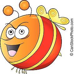 szalony, pomylony, wektor, sztuka, pszczoła