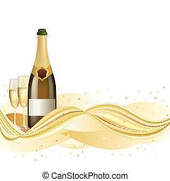 szampan, świętować, tło