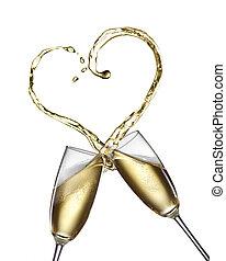 szampan bryzg, w formie, od, serce, odizolowany, na białym