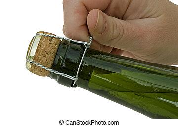 szampan., butelka, otwarcie