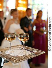 szampan, w, dwa, okulary