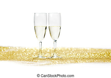 szampan, z, boże narodzenie obecne