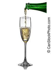 szampan, zsyp, do, szkło, odizolowany, na białym