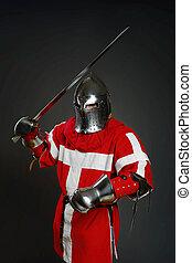 szary, średniowieczny, ściana, rycerz, przeciw, miecz, tarcza