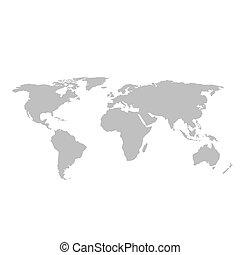 szary, świat, białe tło, mapa