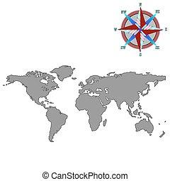 szary, światowa mapa, z, wiatr, róża