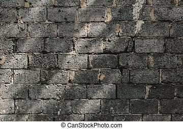 szary, ceglana ściana
