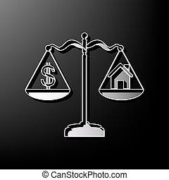 szary, dom, symbol, dolar, tło., czarnoskóry, drukowany, vector., 3d, skalpy., ikona