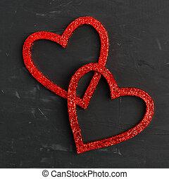 szary, dwa, tło, serca, błyszczący, czerwony