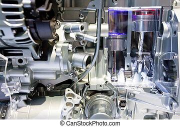 szary, metaliczny, mechanizmy, wiadro, w wozie, motor