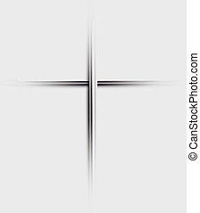 szary, minimalistic, chrześcijanin, wektor, krzyż, pojęcie