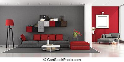 szary, nowoczesny pokój, czerwony, żyjący