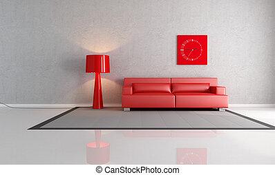 szary, pokój, czerwony, żyjący