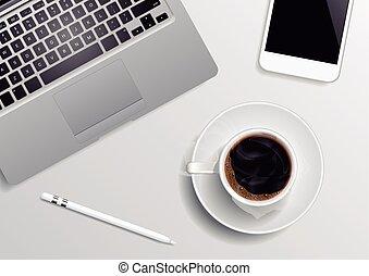 szary, prospekt, górny, kawa, tło, laptop, pióro, smartphone