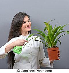 szary, roślina, kobieta, łzawienie, młody, przeciw, tło, portret, botanik