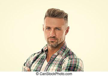 szary, starzenie się, anti, beauty., roots., włosy, model., sklep, twarzowy, petycje, człowiek, concept., kasownik, hairdresser., samiec, him., dojrzały, fryzjer, patrząc, hair., obrządził konia, dobry, grizzle, dobrze, pociągający, transakcja