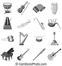 szary, styl, komplet, ikony, instrument, monochromia, muzyczny