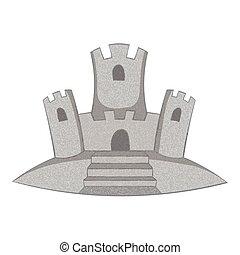 szary, styl, piasek, ikona, monochromia, zamek