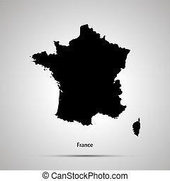 szary, sylwetka, prosty, kraj, mapa, francja, czarnoskóry