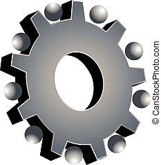 szary, teamwork, przybory, logo
