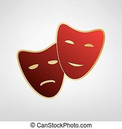 szary, teatr, złoty, masks., rzeźnik, smutny, tło., vector., lekki, szczęśliwy, czerwony, ikona