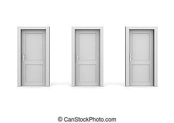 szary, trzy, drzwi, zamknięty