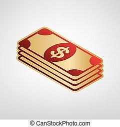 szary, złoty lekki, poznaczcie., dolar, nuta, tło., bank,...
