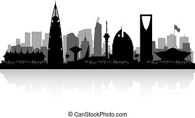 szaudi, árnykép, arabia, város égvonal, riyadh
