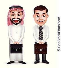 szaudi, arab, vektor, birtok, ember, betűk, üzletember, aktatáska