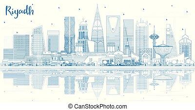 szaudi, reflections., arabia, épület város, láthatár, riyadh, áttekintés, kék