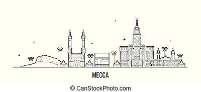 szaudi, vektor, makkah, nagy, arabia, láthatár, mecca, város