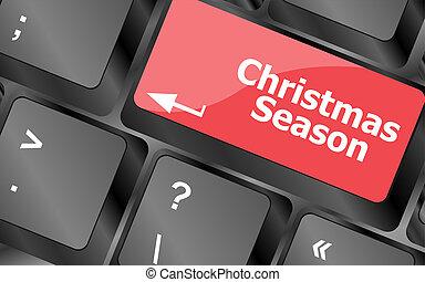 szavak, évad, computer kulcs, billentyűzet, karácsony