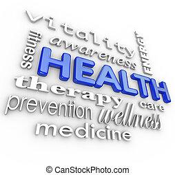 szavak, kollázs, egészség, háttér, orvosság, törődik