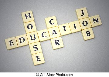 szavak, oktatás, épület, autó, és, munka, képben látható, egy, szürke háttér