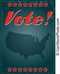 szavazás, amerika, tervezés