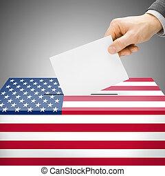 szavazóurna, festett, bele, nemzeti lobogó, -, egyesült...