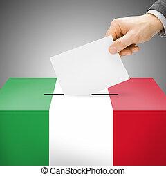 szavazóurna, festett, bele, nemzeti lobogó, -, olaszország