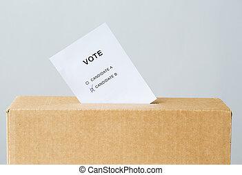 szavaz, beillesztett, bele, szavazóurna, rés, képben látható, választás