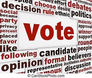 szavaz, politikai, poszter, fogalom