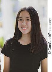 szczęście, uśmiechanie się, nastolatek, asian, patrząc, ...