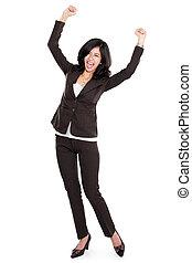 szczęśliwa kobieta, asian handlowy, podniecony