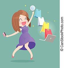 szczęśliwa kobieta, czyn, online shopping